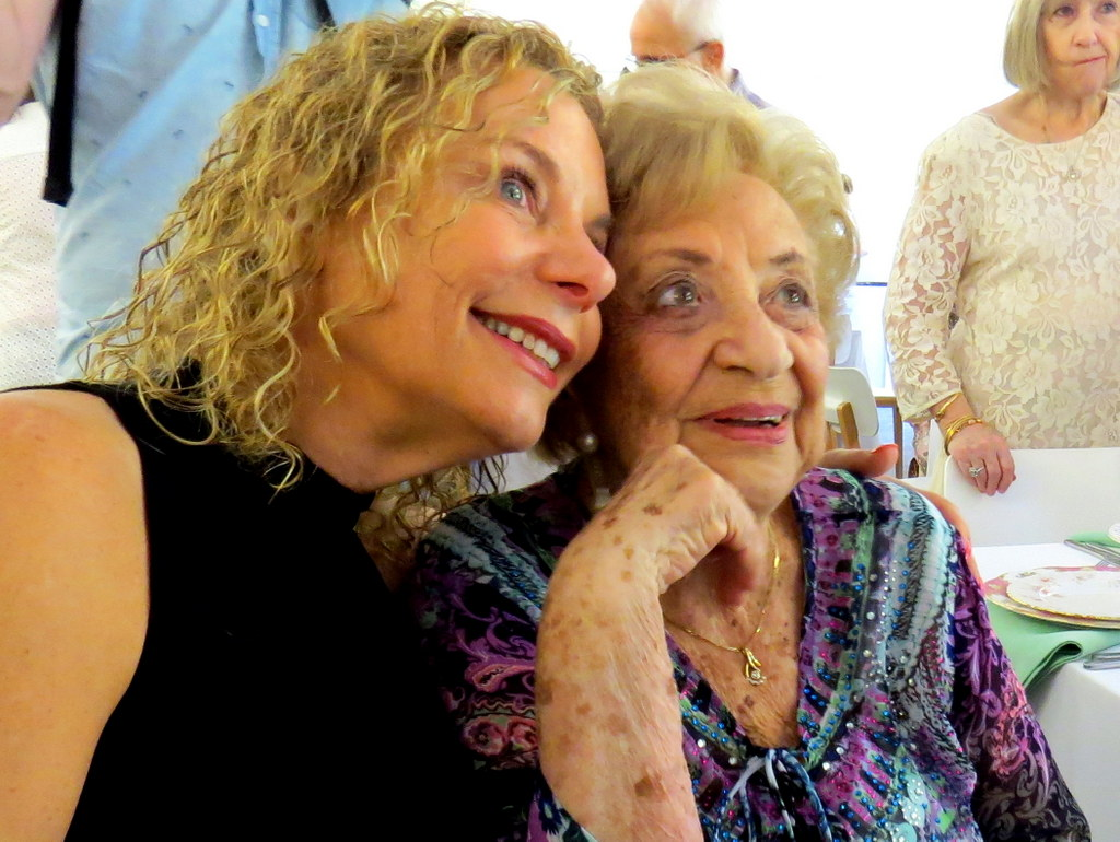 Lena Goldstein with her daughter-in-law Dina at Lena's 100th birthday celebration.