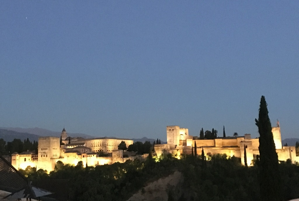 The Al Hambra Palace, Granada, at nightfall.