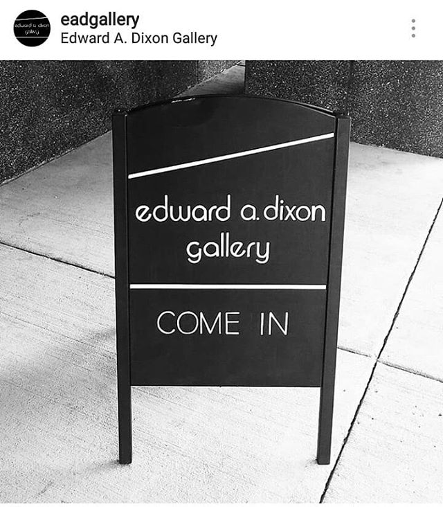 Spent this morning at the @eadgallery whipping up a quick sidewalk sign with my new #posca markers. And lots of painters tape for those lines (but freehand letters, always!) Everyone: go see the beautiful collection at this hidden gem of a gallery!