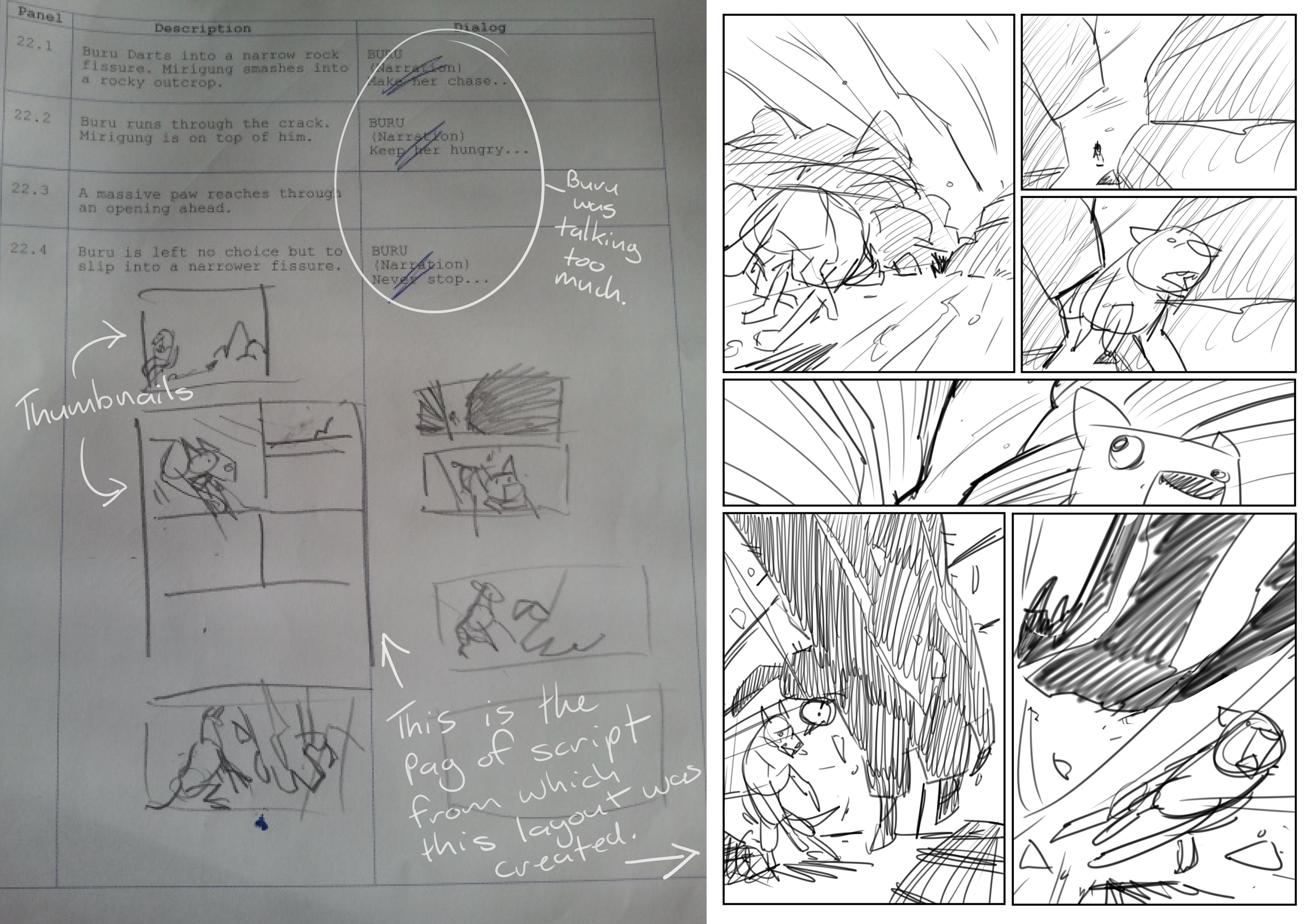 A script page and the rough layout. This is one of my cleaner layouts. Looks like I added more panels than I'd scripted. I did this a lot.