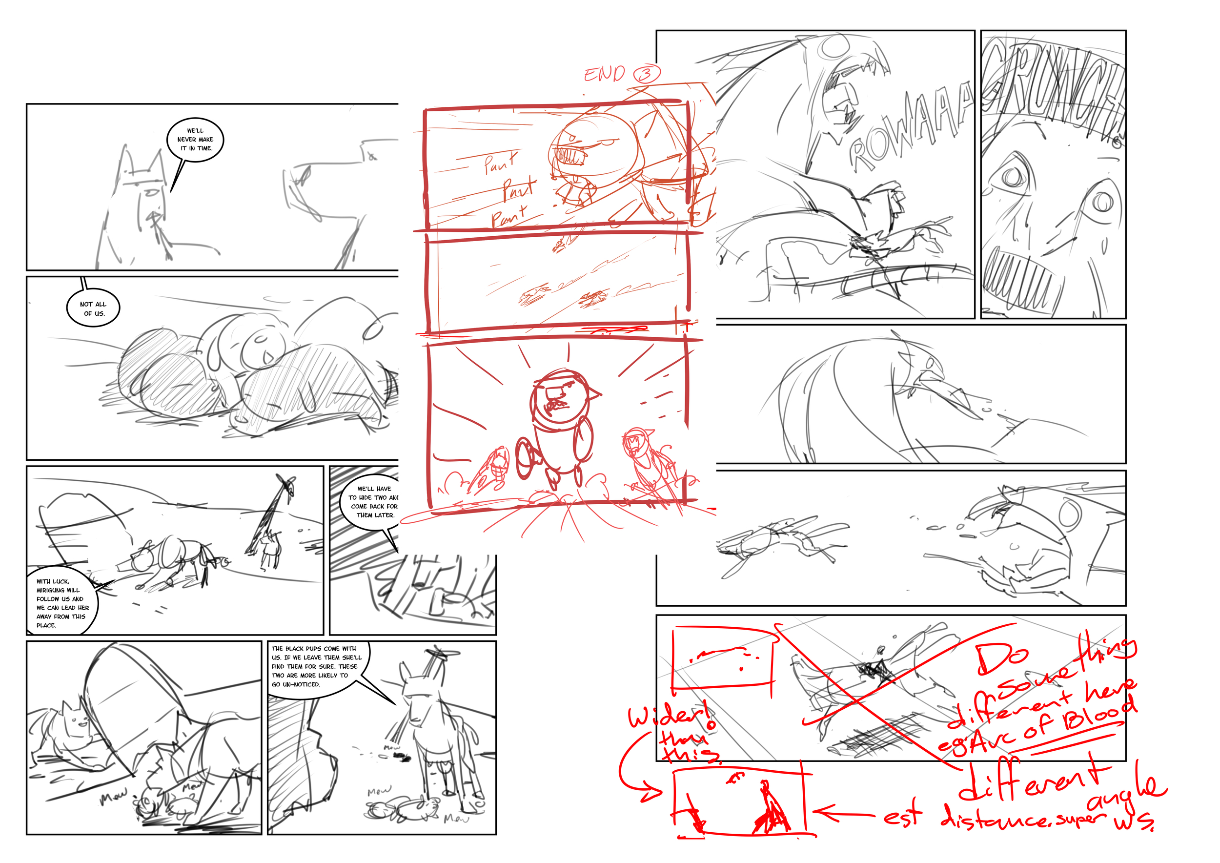 "This is a collection of my rough pages. Most are pretty tidy. Some are quick thumbnails inserted where I thought I needed an extra story beat and others have my ""Editors"" notes all over them."