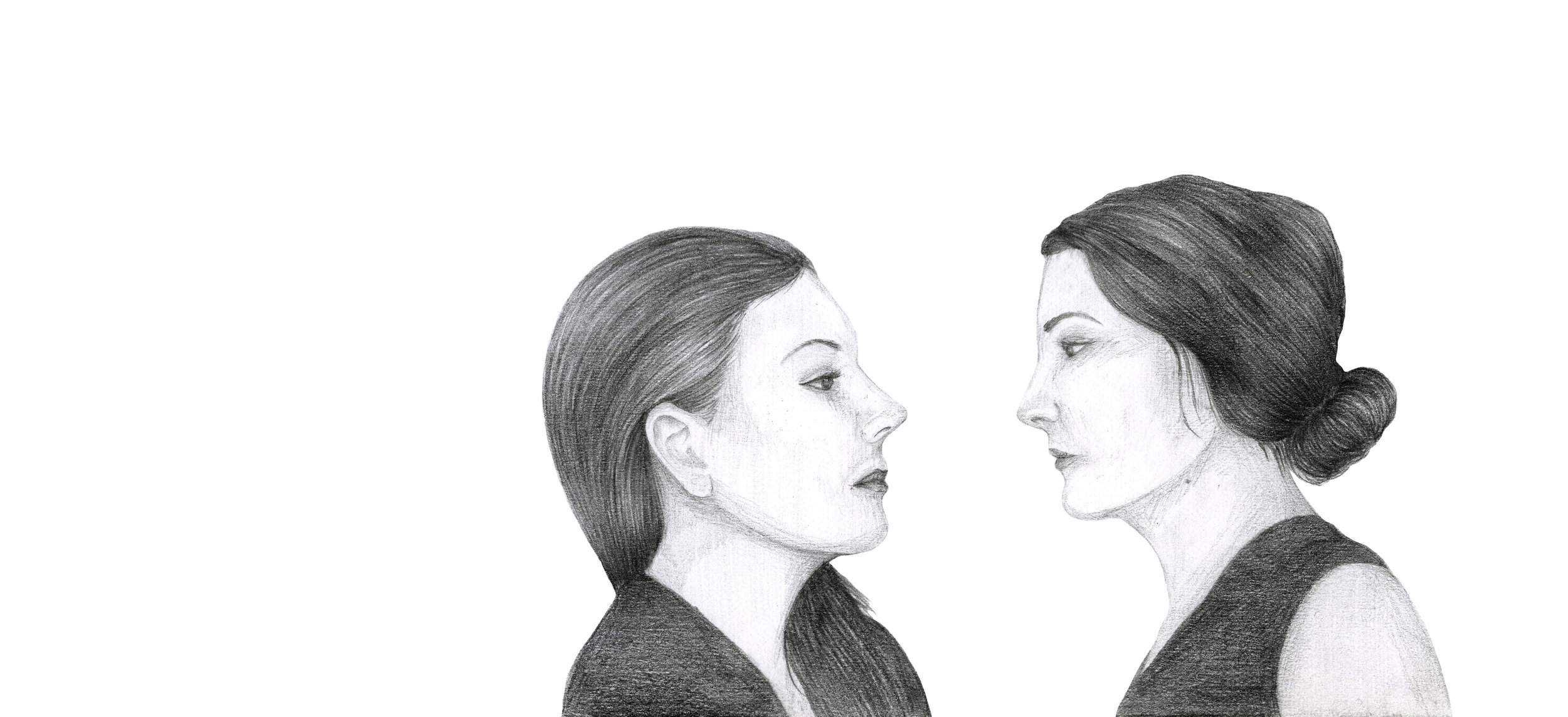 Sisters , 2017.Graphite on Paper, 180mm x 225mm