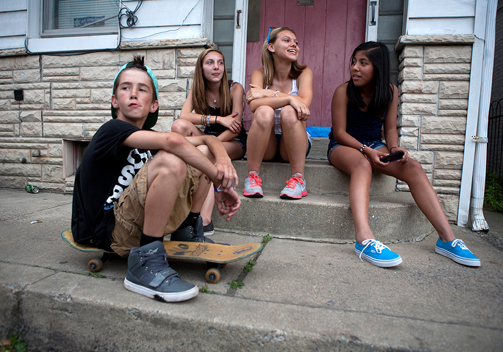 Kids on a front stoop, Mechanicsville, Penn. 2013.
