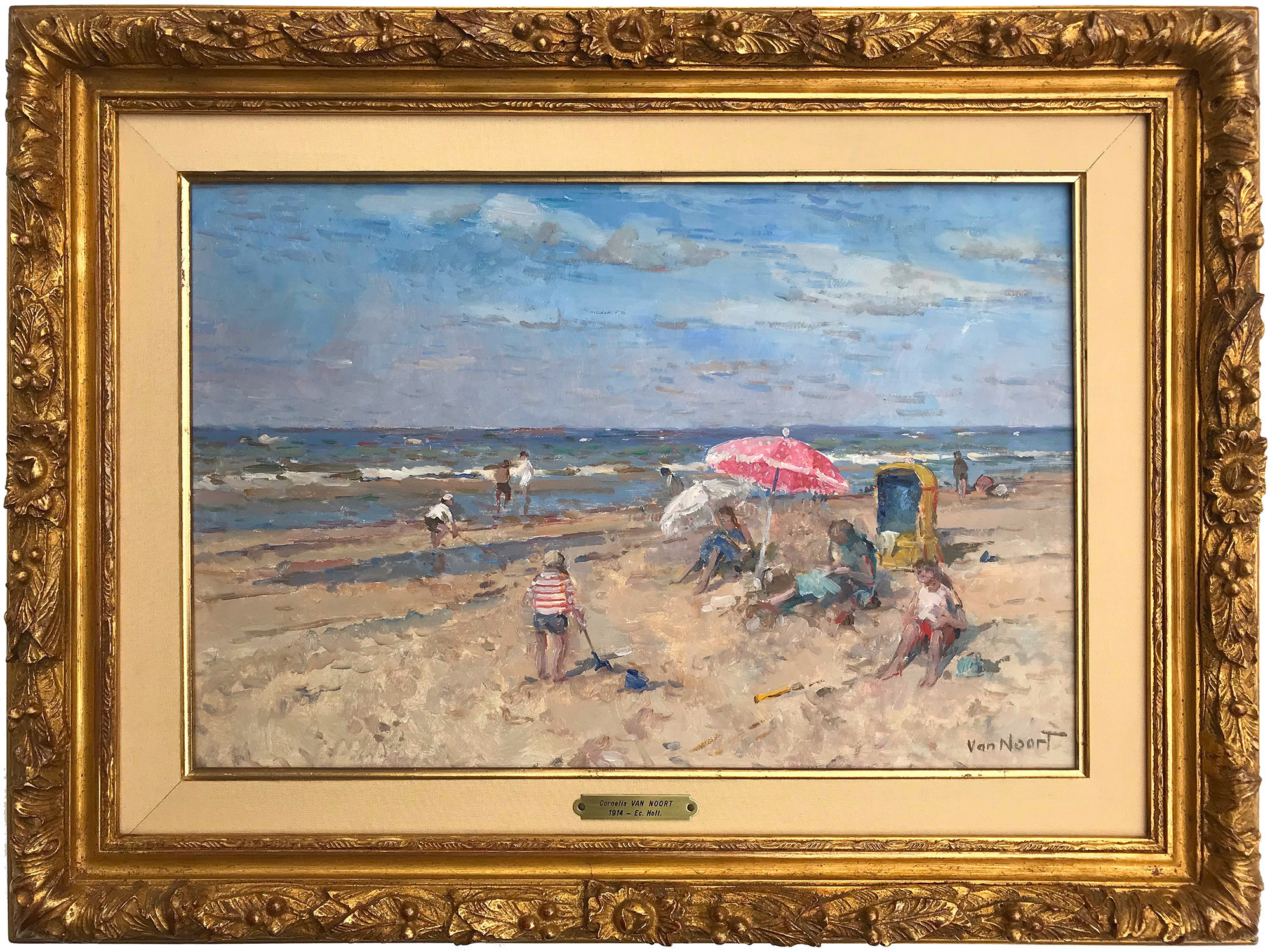 Beach Scene with Figures and Parasol, Mid-20th Century