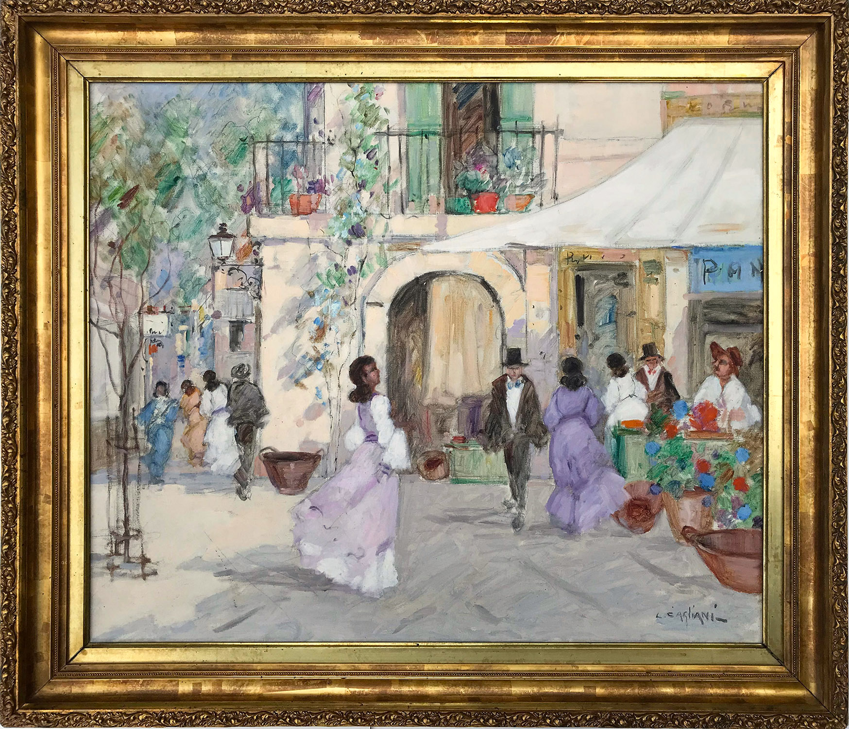 Parisian Market Scene with Figures, Early 20th Century