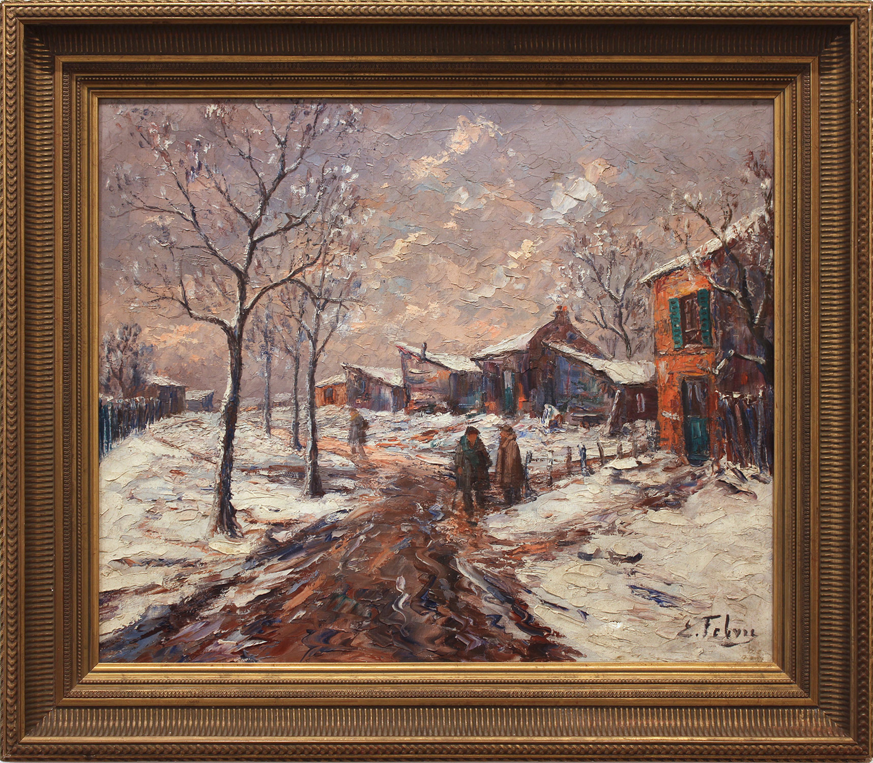 French Village Snowscene, 20th Century