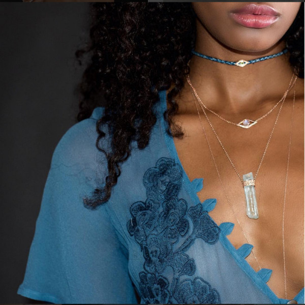 Add a sleek choker to any layered necklace look to create a bit of edge.