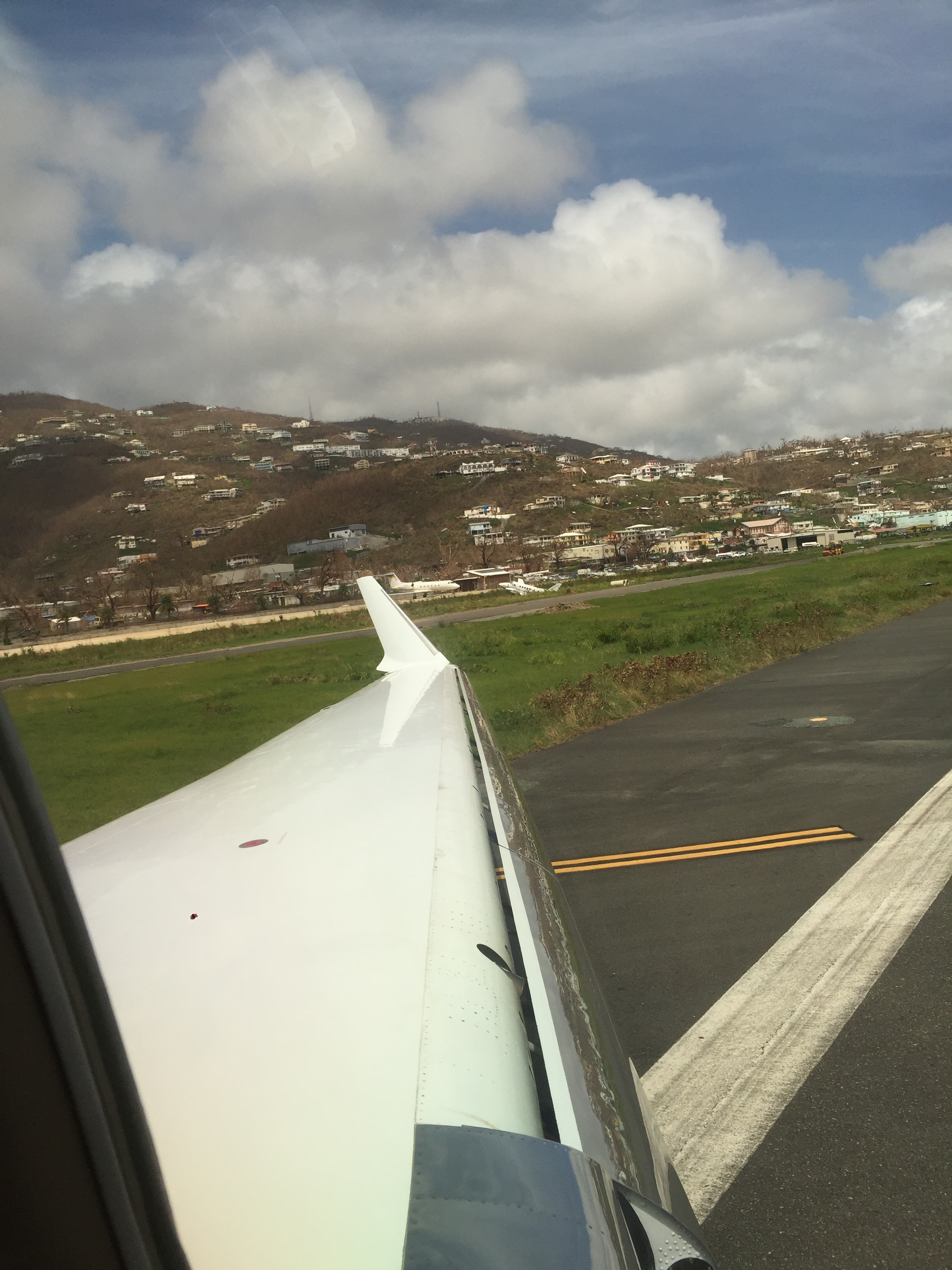 Taking off from St. Thomas Jet Centre 3 days after Hurricane Maria.