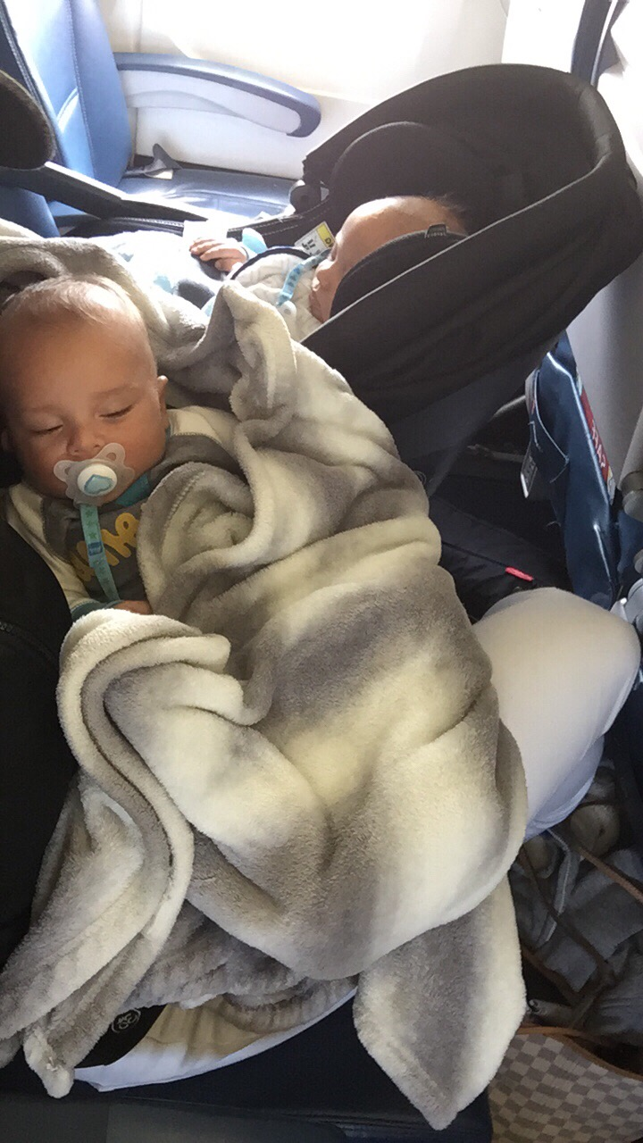 Snuggles on the flight out of Fort Lauderdale