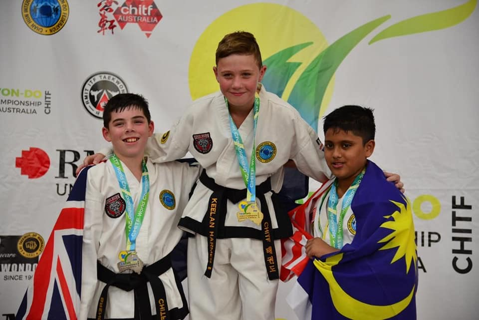 Keelan Harmer  Keelan is a first degree black belt and a world champion. Born into the Taekwon-Do like his cousin Tom, is beginning to reach his potential in Taekwondo.