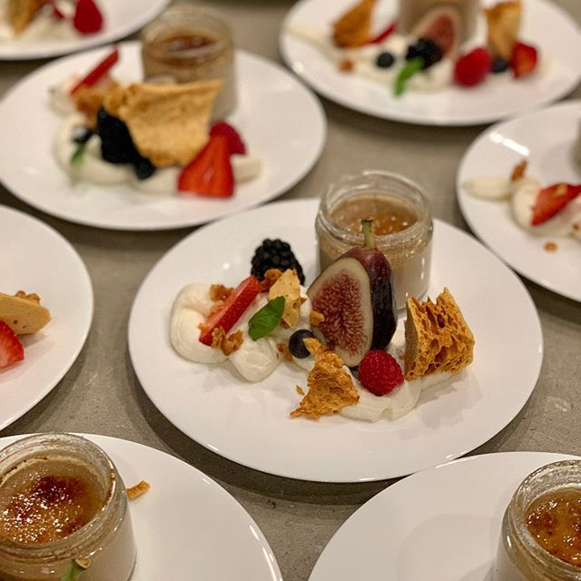 Spiced Creme Brûlée with fig essence cream, berries and honeycomb