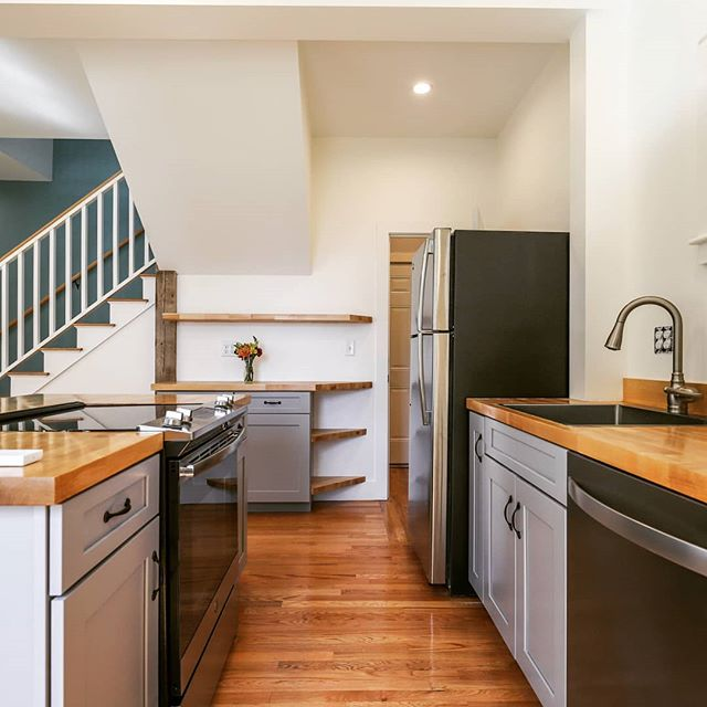 Carriage House Kitchen.  This project has come a long way.  Designed over a year ago,  this building was picked out of the mud and repurposed as an efficient accessory dwelling unit for a family in Portland.  The OBWI field crew nailed the details.  Always proud of them.