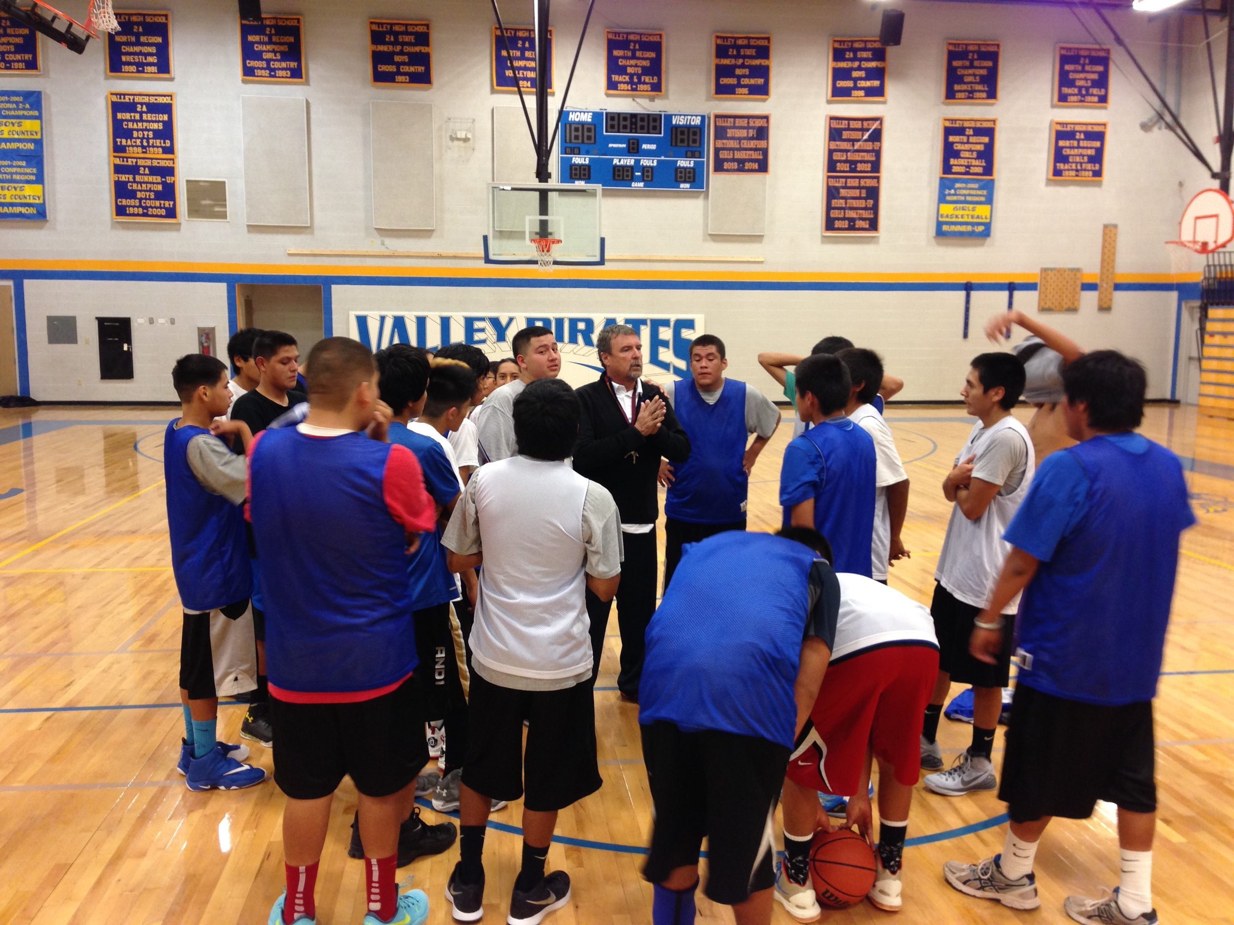 Mark Forster coaching basketball at Valley HS in Sanders, AZ.