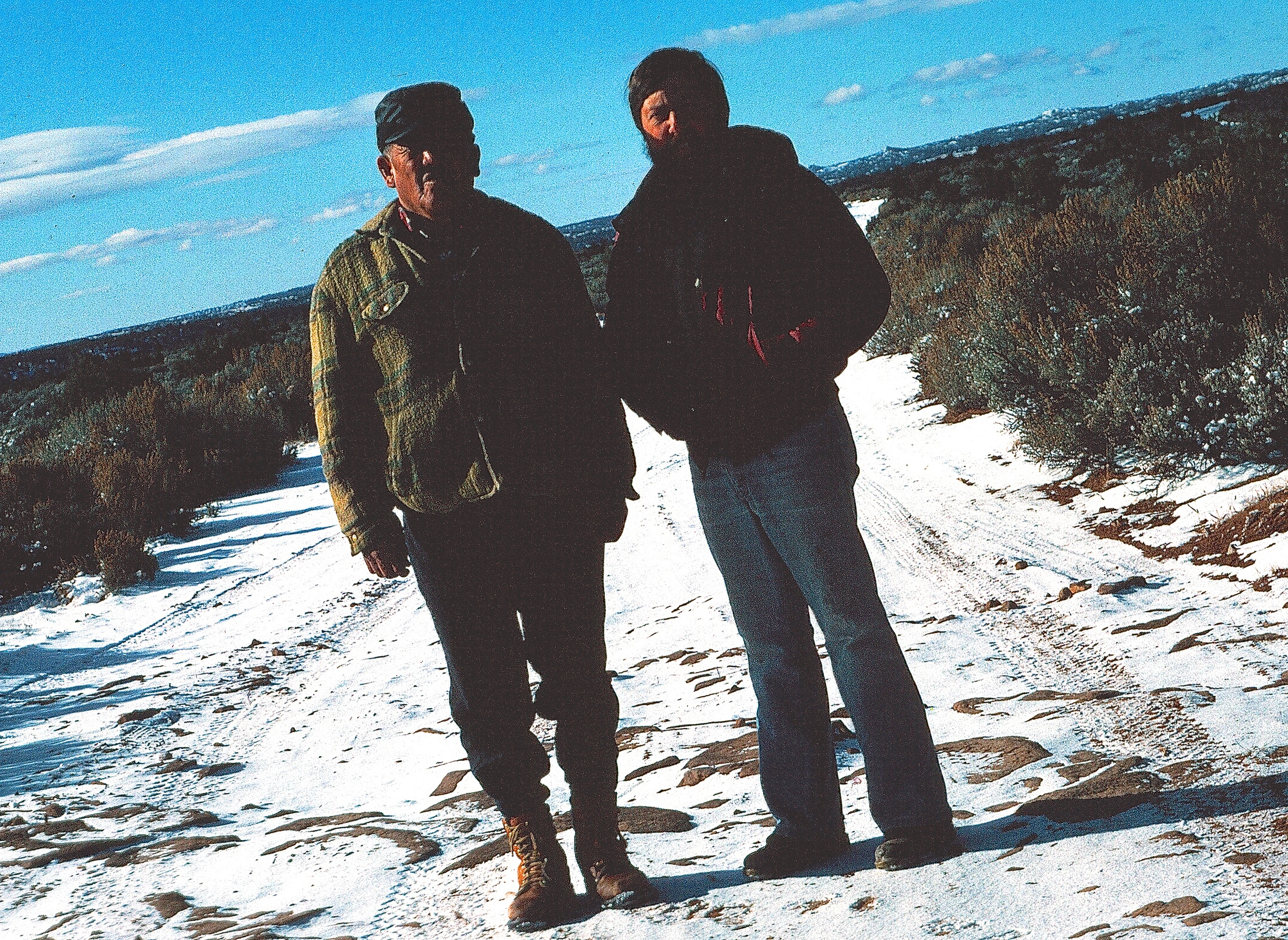On a rez road to somewhere with my mentor, Bahe (winter of 1985)
