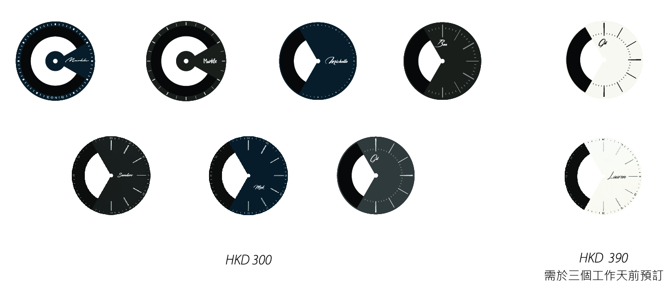 如需要有自訂文字或圖案的錶面,也可以即場以HK$300購買 如需要銀白色錶面的話,需要三個工作天前預訂