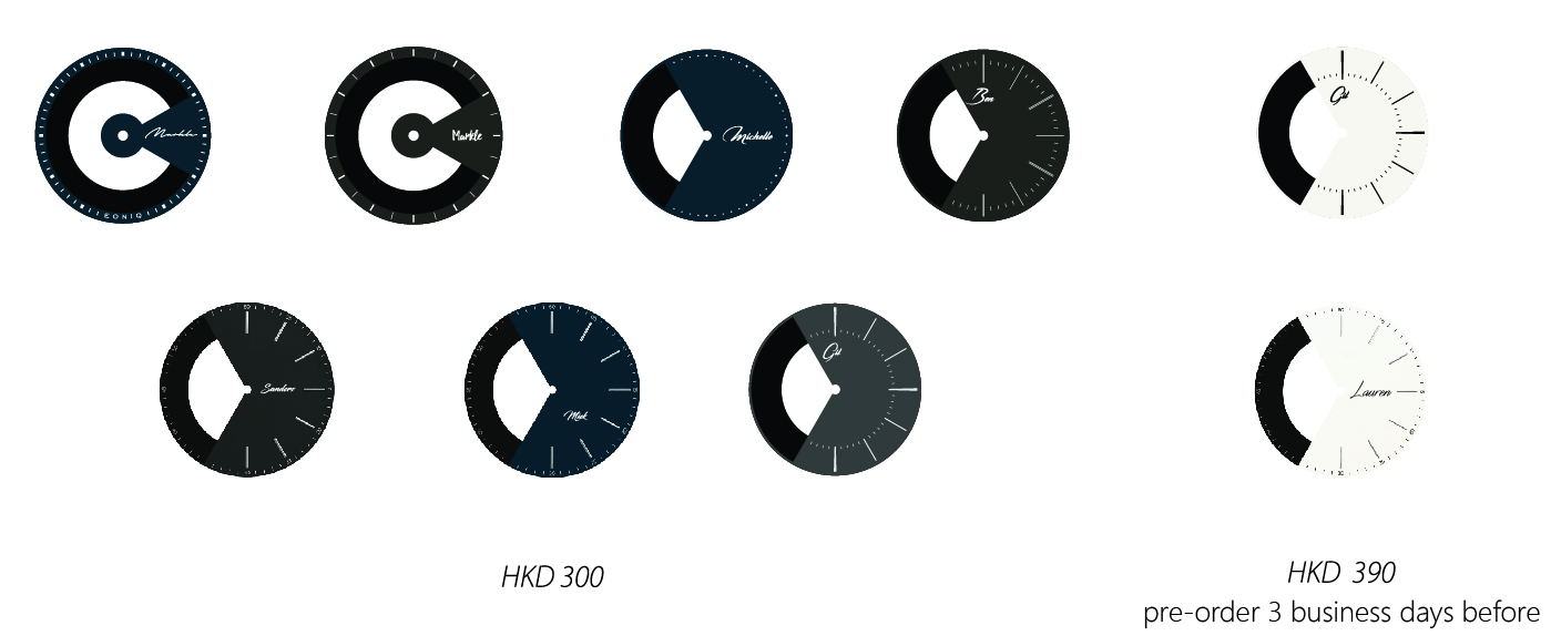 You can also customize the dial with HK$300 extra charge.  Or if you need the Fine Silver Plated Dial, please pre-order 3 business days before.