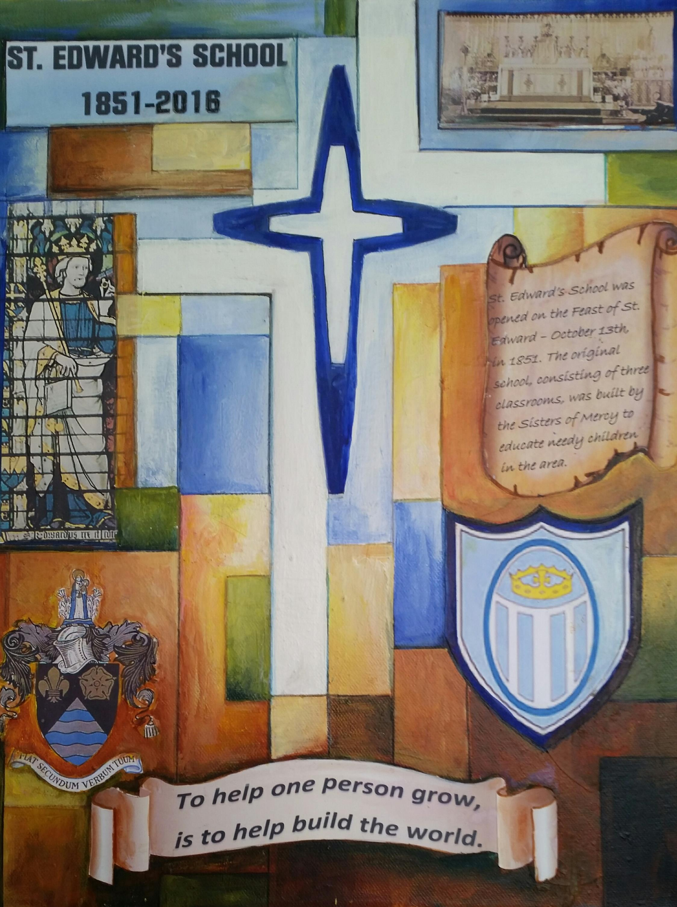 Thank you to Sister Anne Reddington for her beautiful painting commemorating the 165th year of St. Edward's Catholic Primary School.  We will display it with pride!