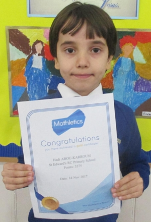 Congratulations to Hadi for achieving his gold Mathletics certificate!