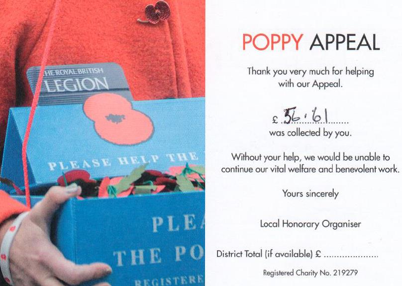 We raised £56.61 for The Royal British Legion Poppy Appeal - thank you very much!
