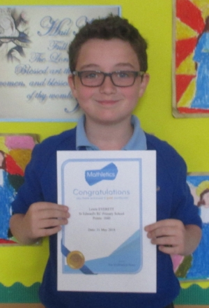 Lewis was the proud recipient of a Mathletics gold certificate this week - well done!