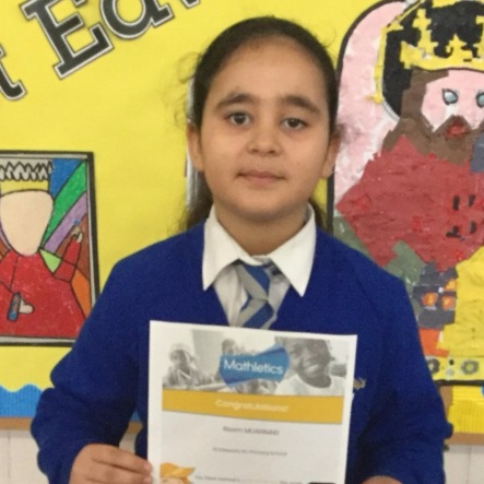 Reem is the proud recipient of a gold Mathletics certificate. Congratulations!