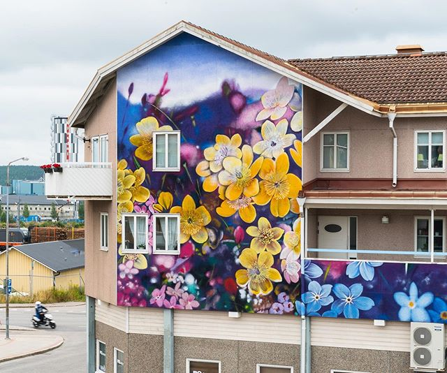 "Ouizi (@0uizi) for ARTSCAPE 2019 LJUSDAL! 🌼✨🌸 Title: 'Gökotta'  The artist's own words: ""Gökotta translates roughly into 'waking up at sunrise to hear the birds sing and appreciate nature', a more whimsical version of 'seize the day', and certainly one that is uniquely Swedish. Inspired by the festive mood and kaleidoscopic colors of Swedish Midsummer, this mural depicts a field of wildflowers at sunrise - that enchanting moment at first light when the flowers are iridescent and the air is thick with dew and bird song."" 👈 #artscape2019ljusdal #ouizi #ouizimural #artscape #ljusdal #bagargränd #ruralmurals #streetartsweden #muralism #streetart #gatukonst #artscapeljusdal #gökotta"