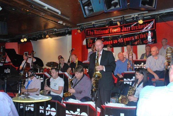 NYJO 45th Anniversary, 100 Club, London, 2010.  Andy Panayi, Sammy Mayne, Nigel Hitchcock, MW, Claire McInerney