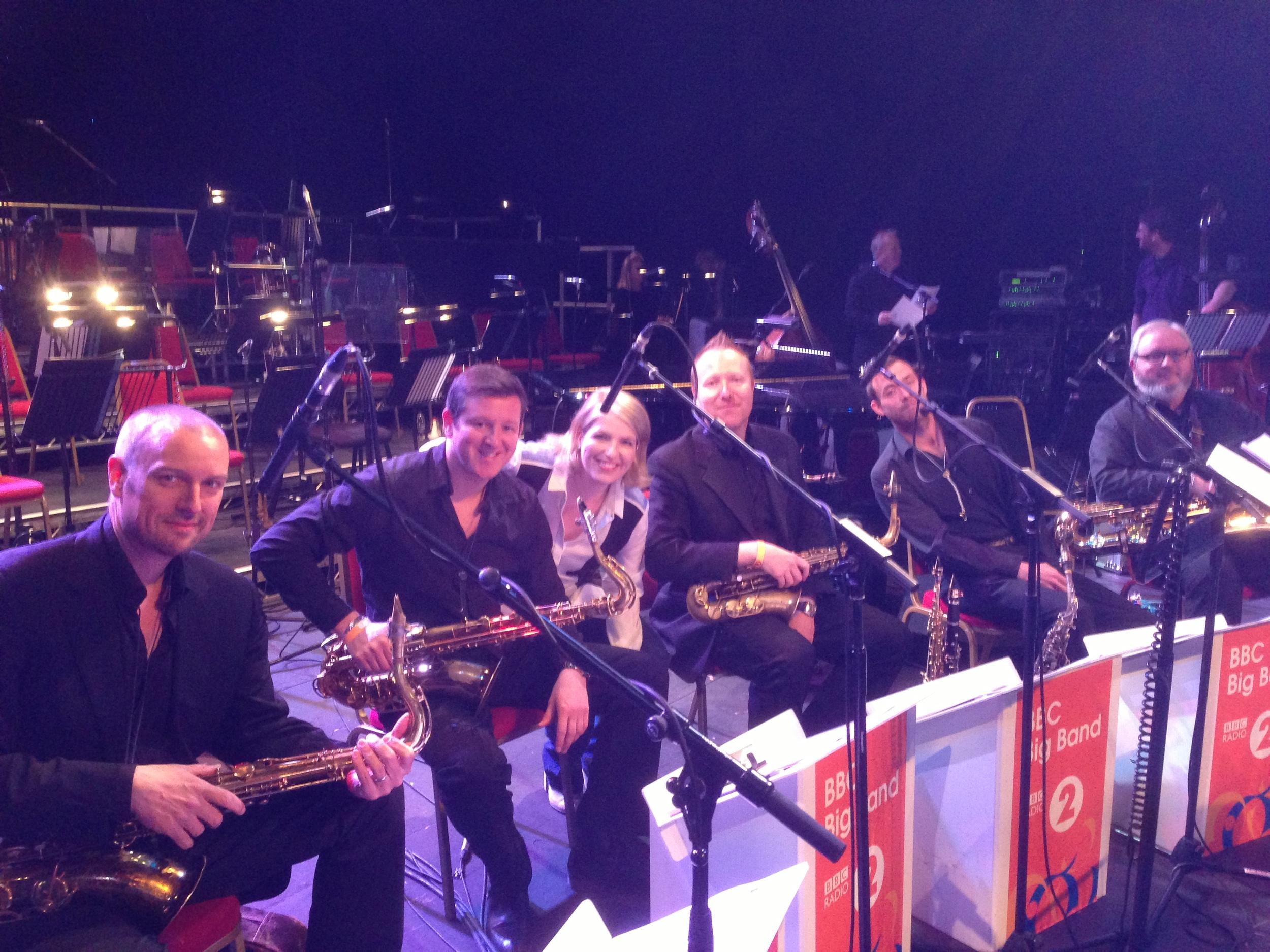 BBC Big Band sax section, 2013. MW, Paul Booth, Clare Teal, Howard McGill, Sammy Mayne, Jay Craig