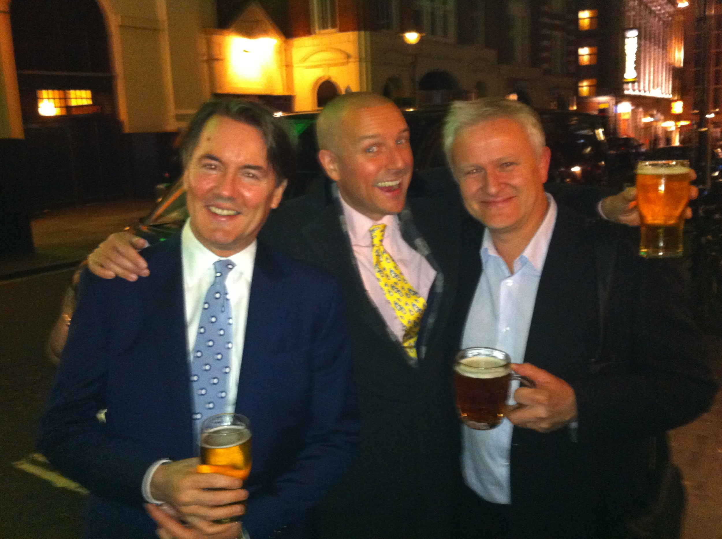 Out on the town in London with  Mark Markham  and  Mike Lovatt . Where's your tie, Lovatt?!