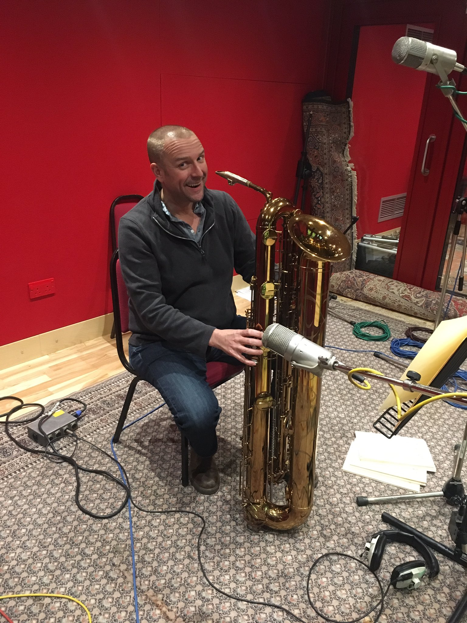 Recording the tubax in the booth at Abbey Road studio 2, November 2016