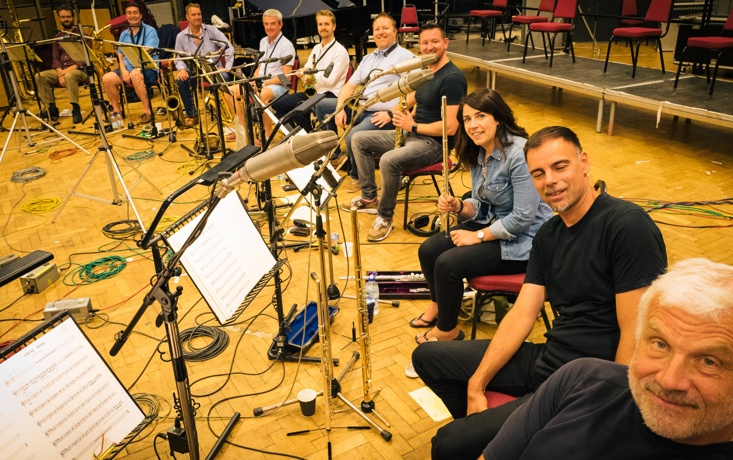 Recording the score for the movie   Vice   ,   Abbey Road  Studio 1, July 2018.  Mick Foster , Dave Bishop, MW, Jamie Talbot, Simon Marsh, Howard McGill, Paul Booth,  Claire McInerney , Nick Moss,  Phil Todd