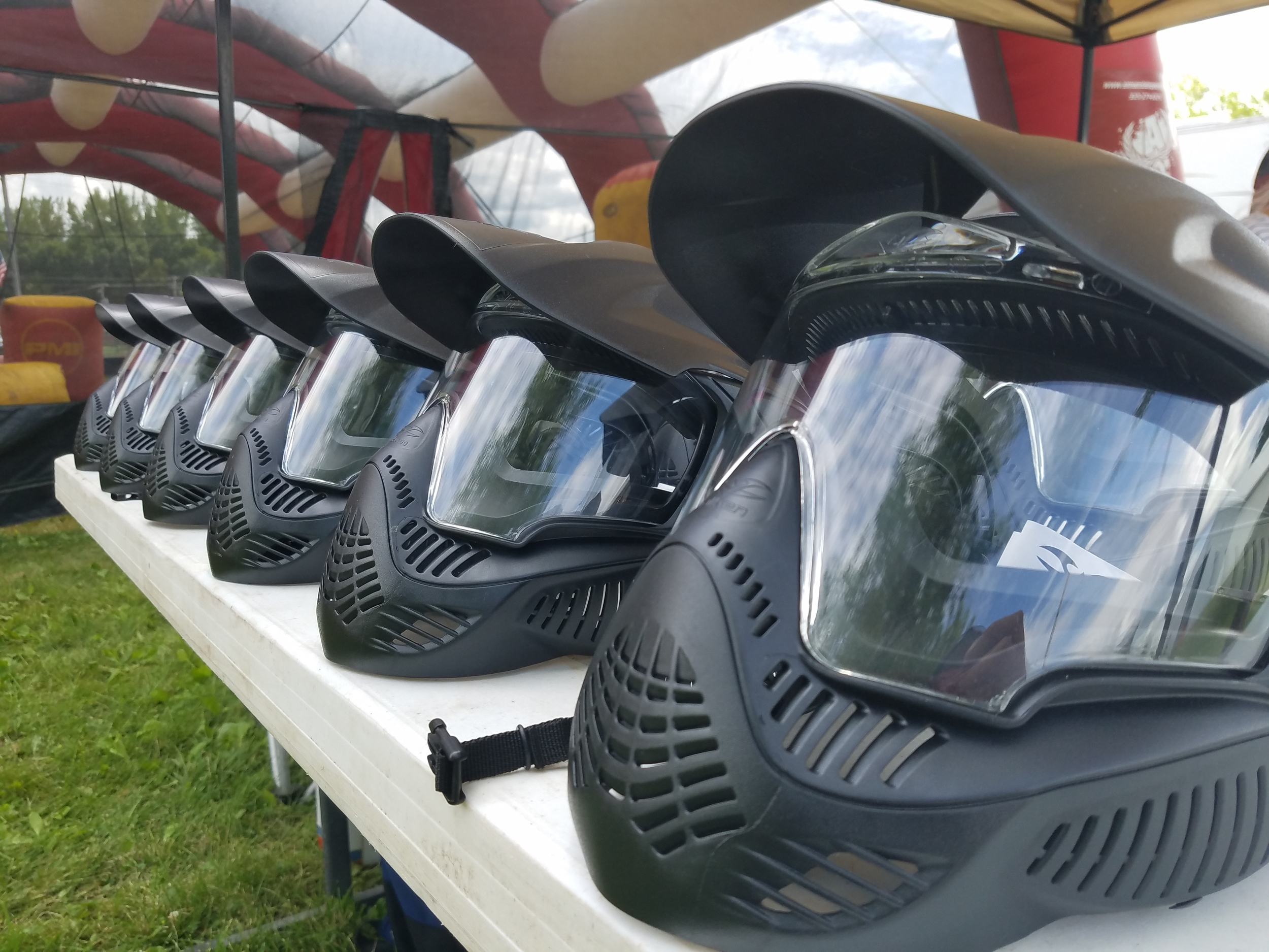 Each participant is provided FULL FACE protection prior to entering the arena