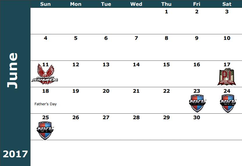 June 11- Warbirds Practice / Sunday Challenge June 17 - MPPL Tournament  June 23-25 - NXL Atlantic City
