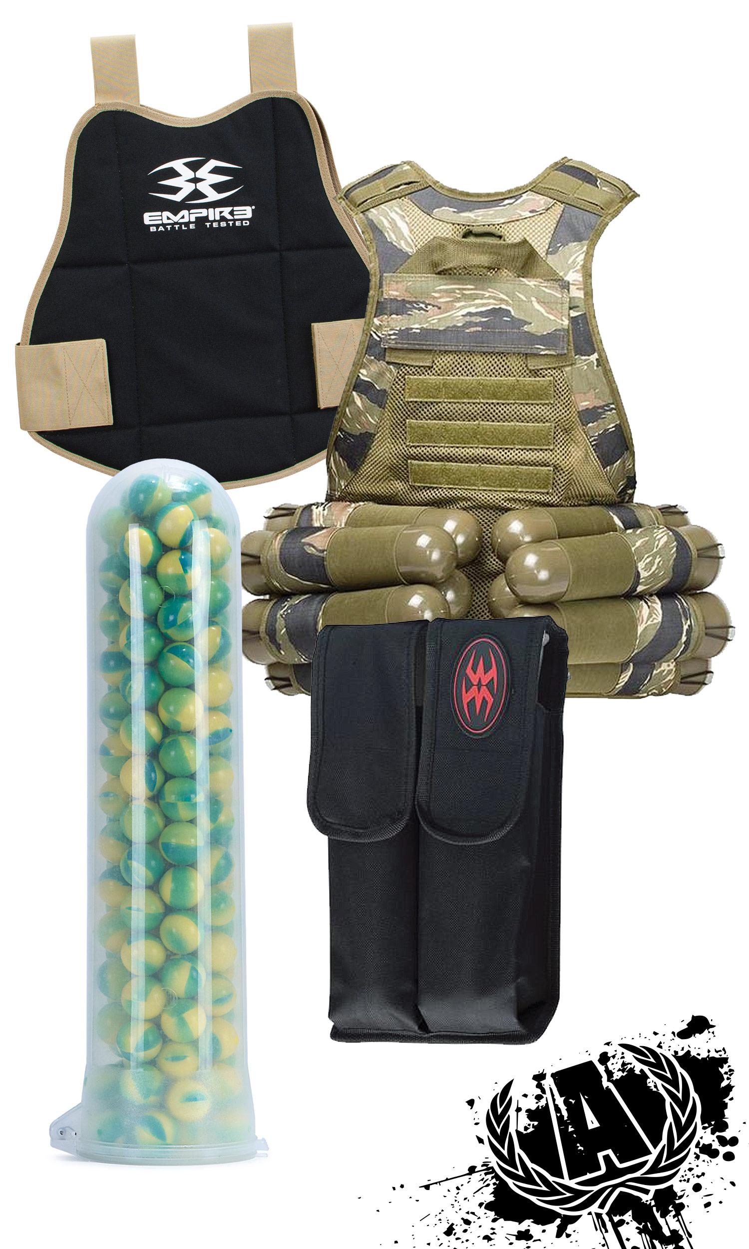 Protective Vest, Vest & Paintball carrier or Belt Paintball carrier    (Additional Paintballs not included)     Protective Vest $4.99 Vest carrier   $9.99  Belt carrier   $4.99