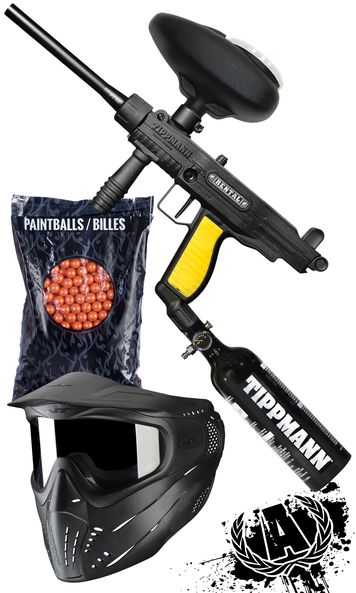 Includes, all day entry, all day air, paintball marker, hopper, air tank, mask, and 500 rounds of paintballs - PremiumPackage$39.99