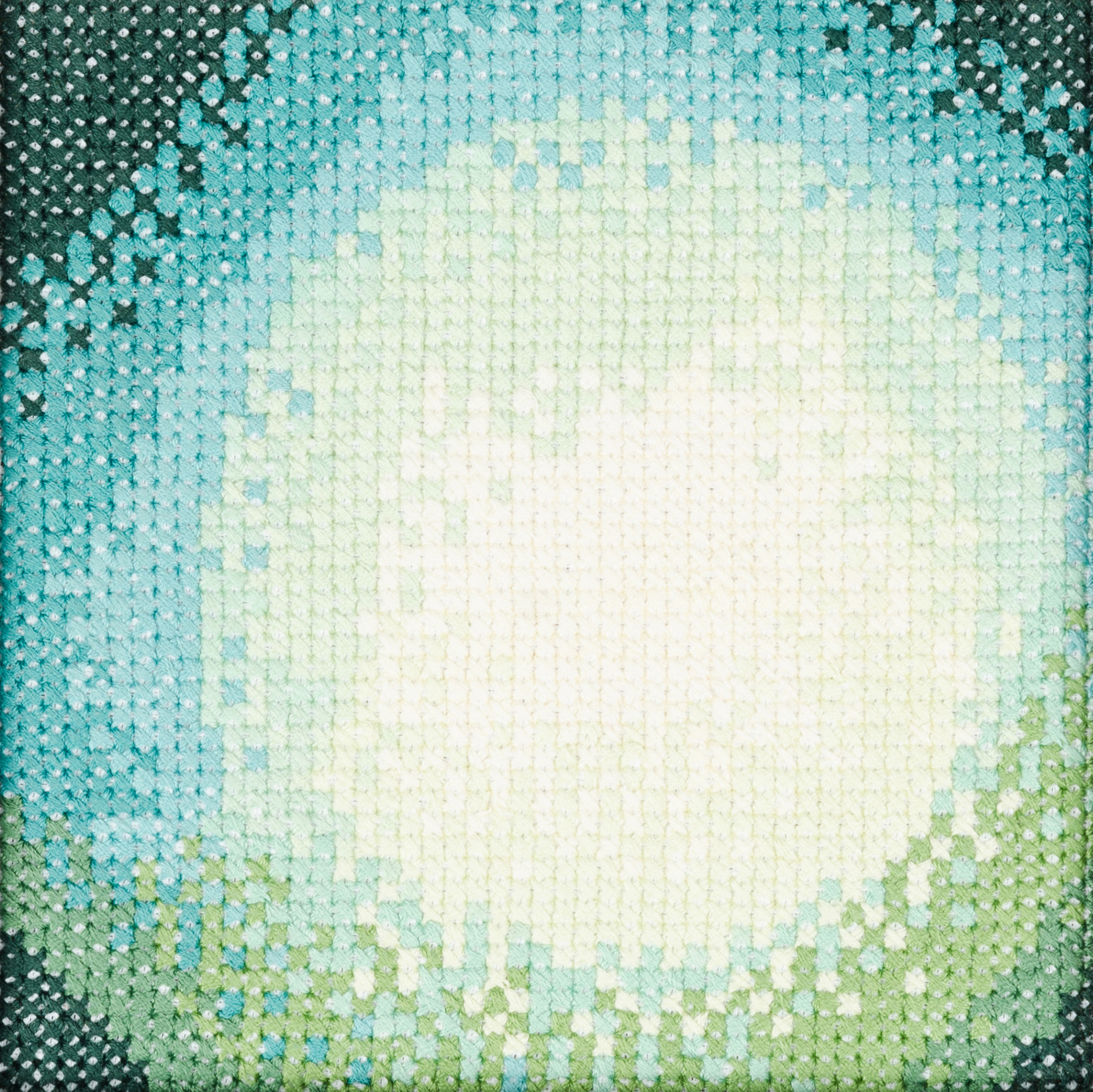 PIERRE LE RICHE. Gradient in blue and green, 2016. Cross-stitch embroidery on Aida cloth. 2500 stitched. 190 x 190mm. Framed.jpg