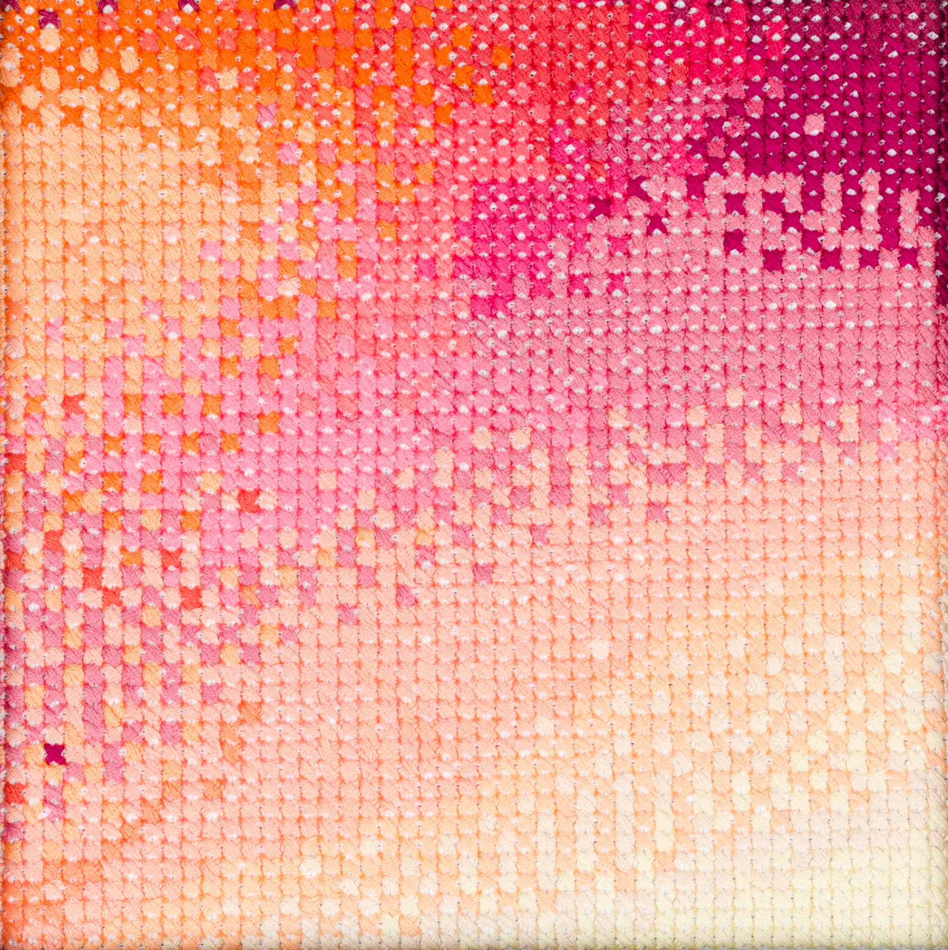 PIERRE LE RICHE. Gradient in pink and orange, 2016. Cross-stitch embroidery on Aida cloth. 2500 stitched. 190 x 190mm. Framed.jpg
