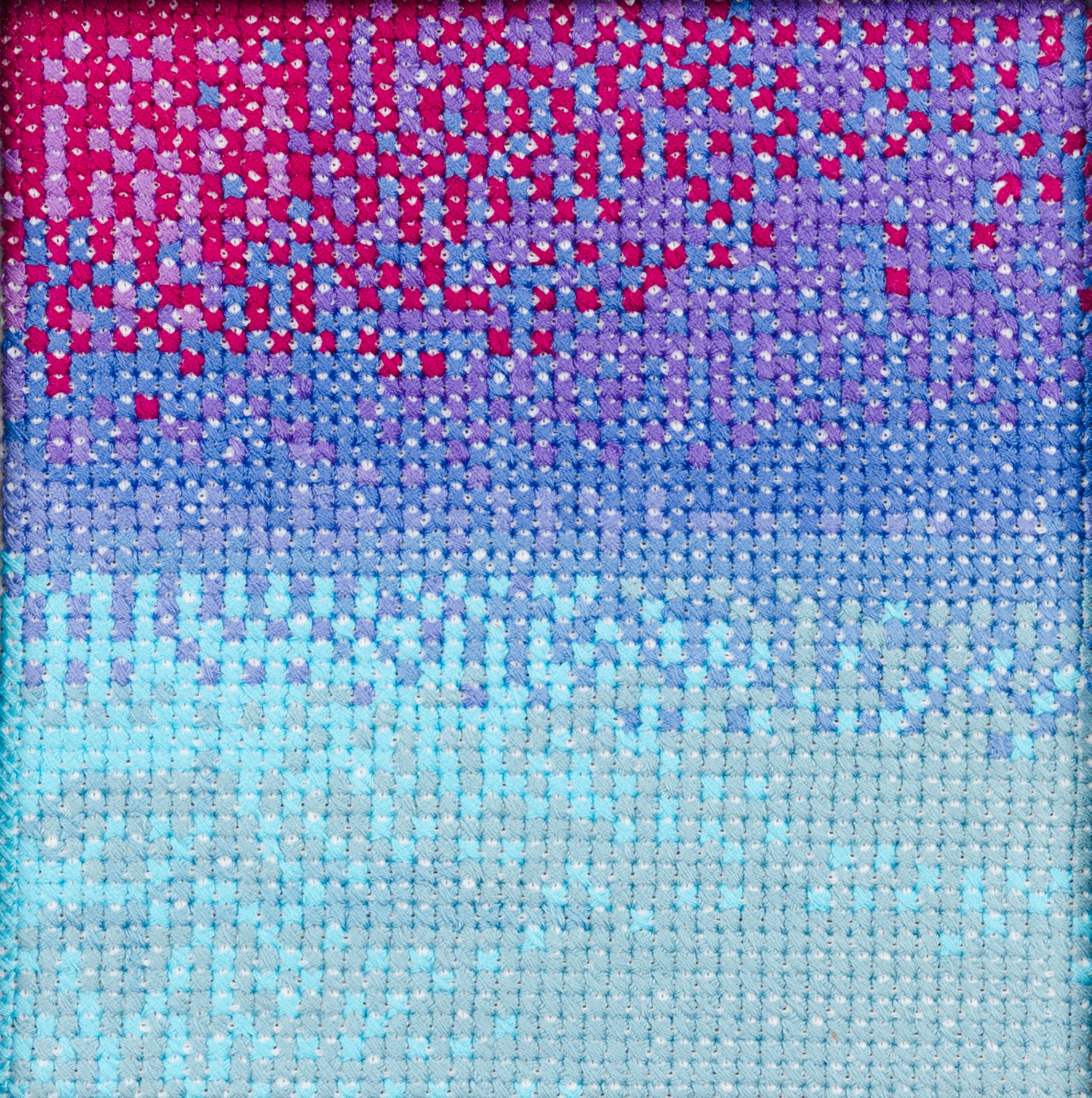 PIERRE LE RICHE. Gradient in purple and turquoise, 2016. Cross-stitch embroidery on Aida cloth. 2500 stitched. 190 x 190mm. Framed.jpg