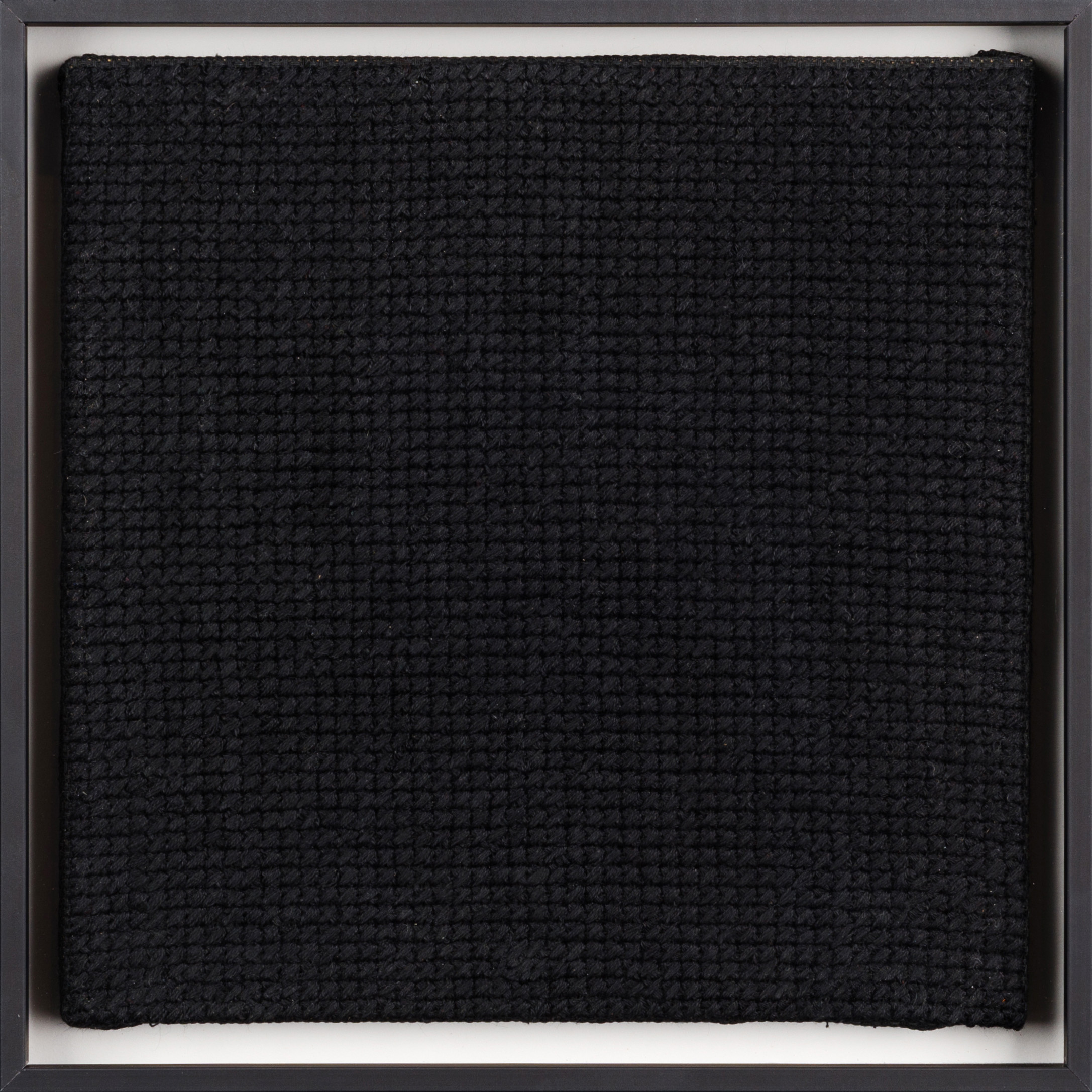 PIERRE LE RICHE. Black on black, 2016. Cross-stitch embroidery on Aida cloth. 2500 stitched. 205 x 205mm. Framed.jpg