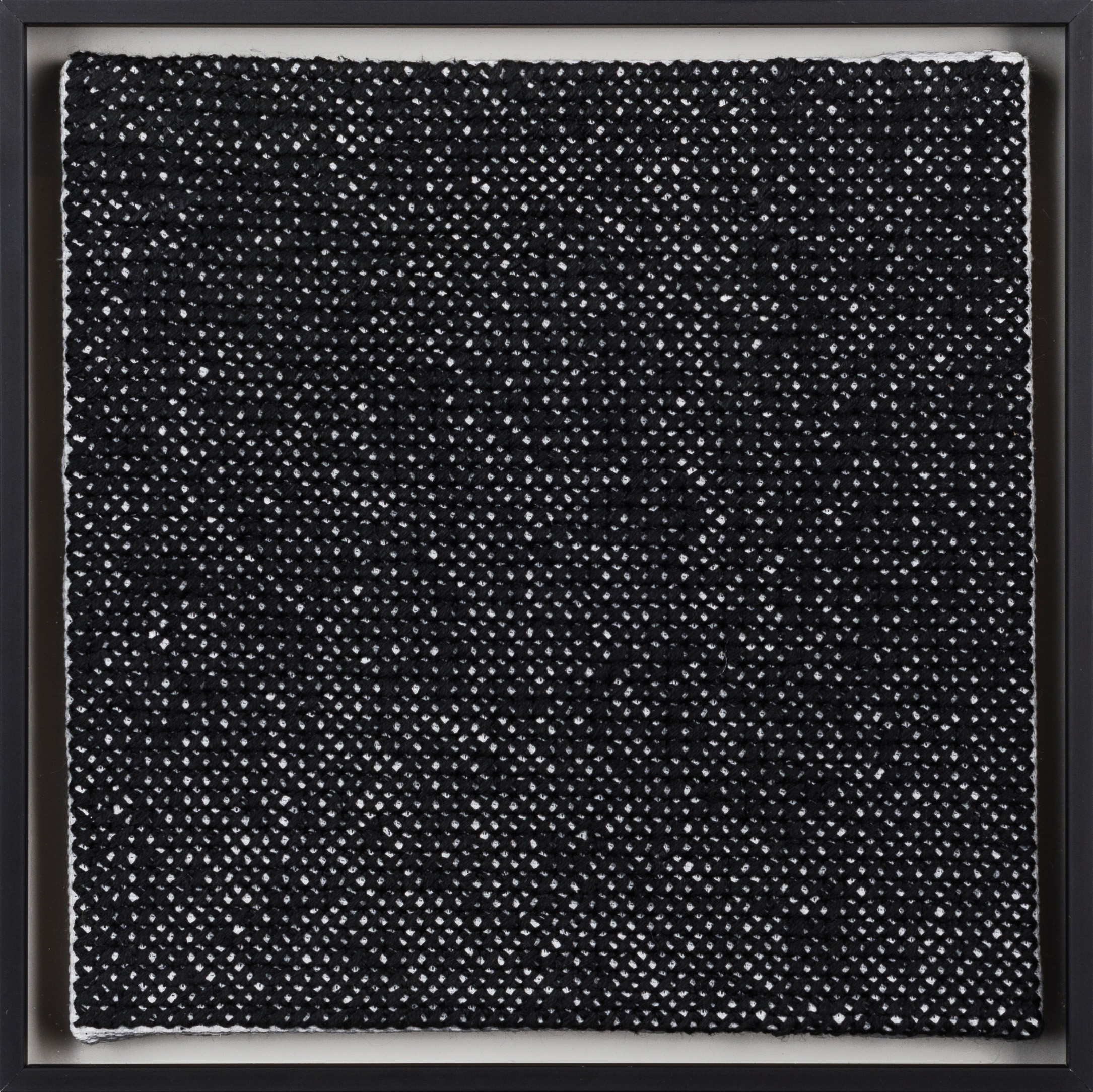 PIERRE LE RICHE. Black on white, 2016. Cross-stitch embroidery on Aida cloth. 2500 stitched. 205 x 205mm. Framed.jpg