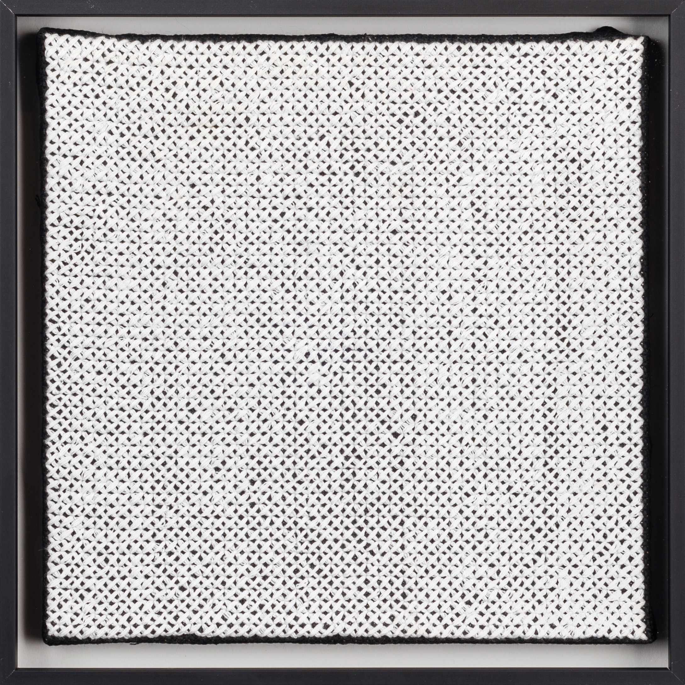 PIERRE LE RICHE. White on black, 2016. Cross-stitch embroidery on Aida cloth. 2500 stitched. 205 x 205mm. Framed.jpg