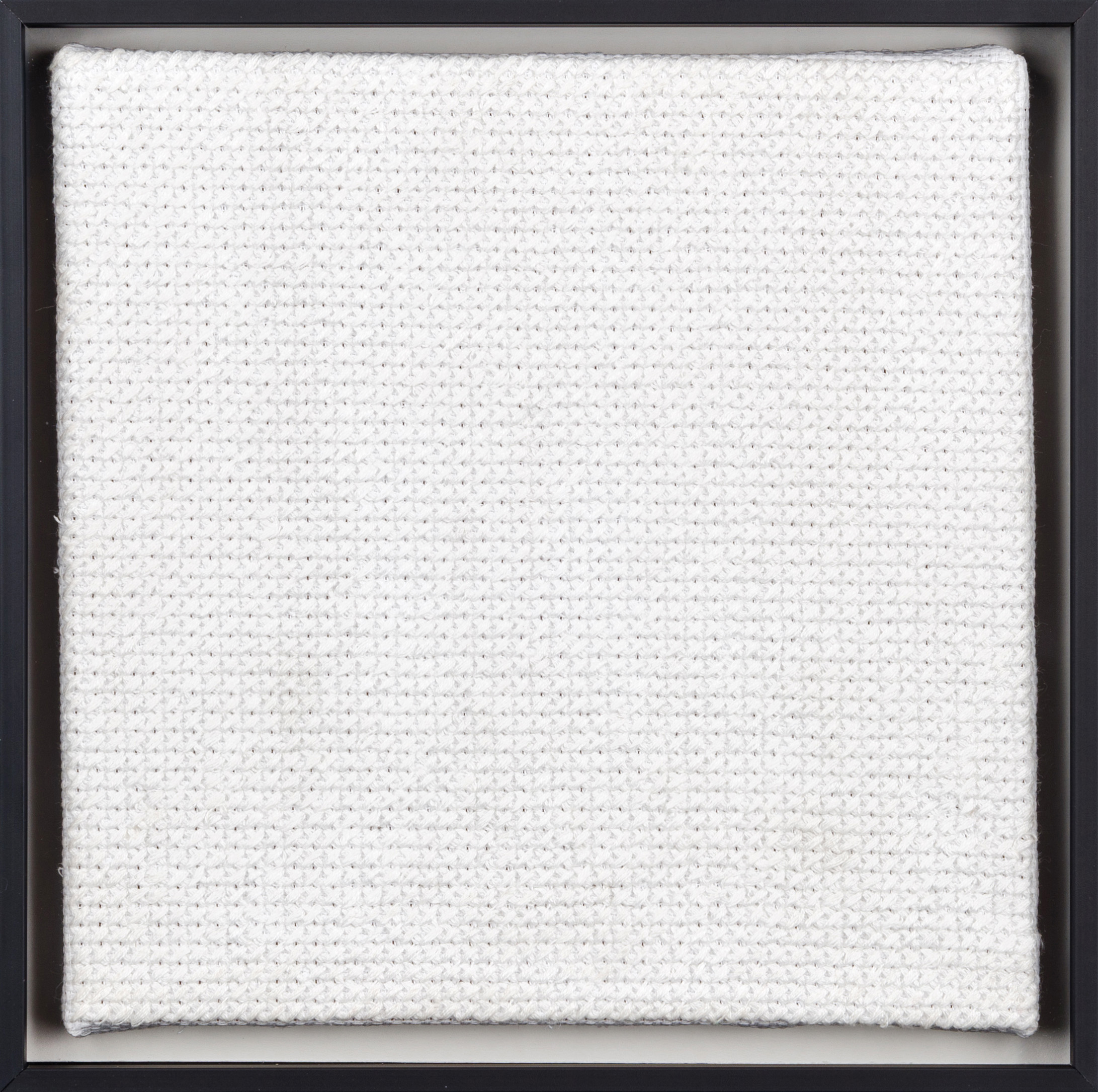 PIERRE LE RICHE. White on white, 2016. Cross-stitch embroidery on Aida cloth. 2500 stitched. 205 x 205mm. Framed.jpg