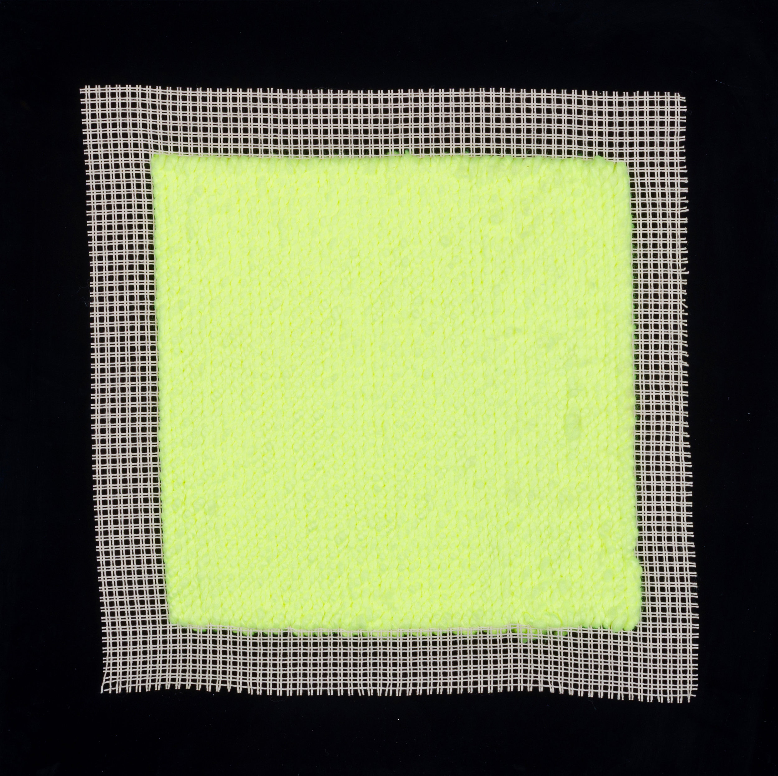 PIERRE LE RICHE. Tapestries in acid green, 2016. Acrylic yarn on tapestry mesh. 600 x 600 x 45mm - 1.jpg
