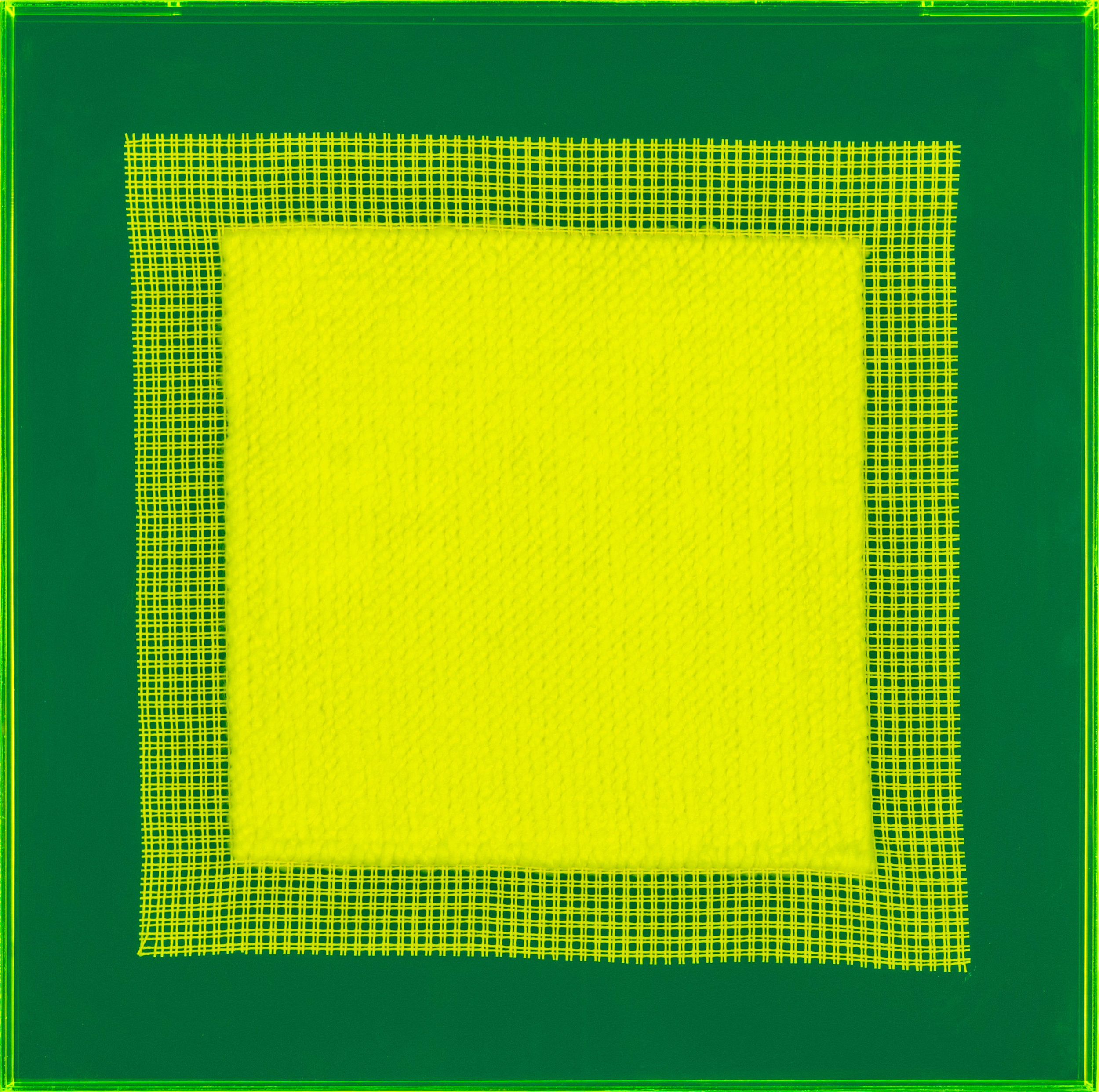 PIERRE LE RICHE. Tapestries in acid green, 2016. Acrylic yarn on tapestry mesh. 600 x 600 x 45mm - 2.jpg