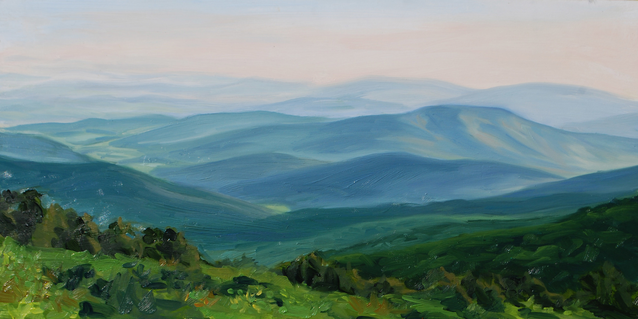 """""""Harris Hollow Loop from Skyline Drive"""" Oil on canvas 12""""x 24"""""""