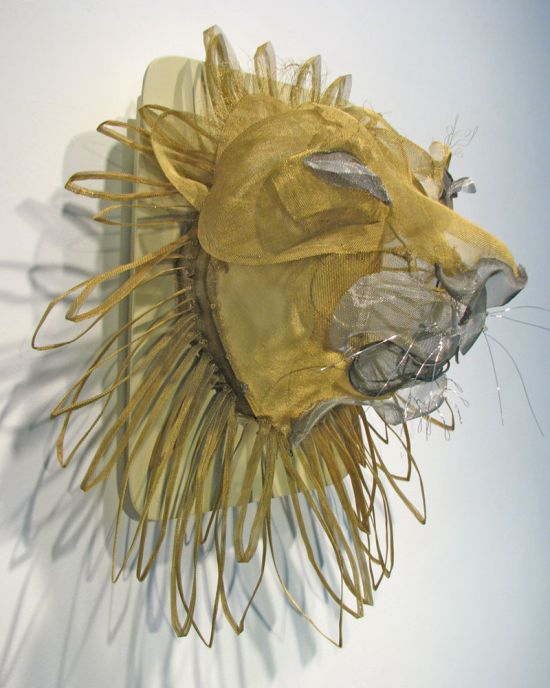 """Lion"" Painted screen and wire"
