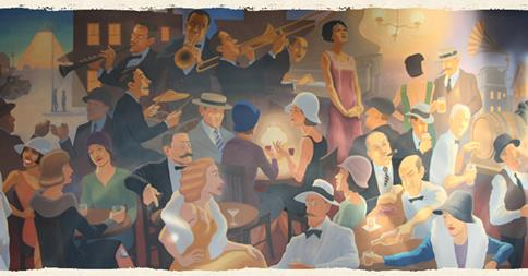 William Jeffries Tavern Mural in Arlington, one of many in the Tavern.