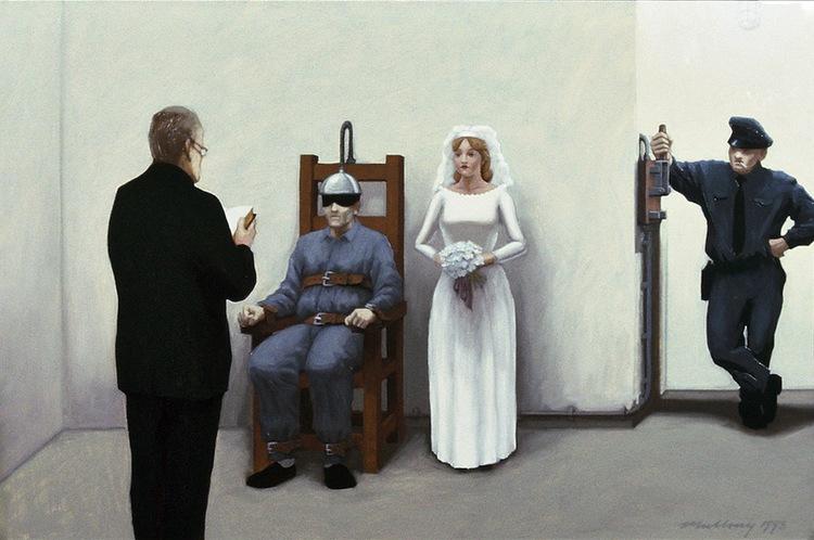 """Bride of the Serial Killer"" Gouache on paper 1 1/2"" x 11 3/4"""