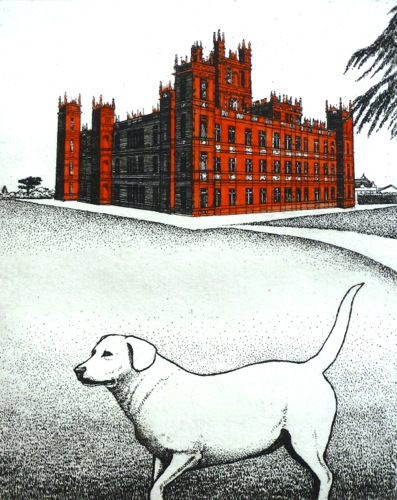 """Downton Abbey"", etching, ed. 50, 5' x 4'"