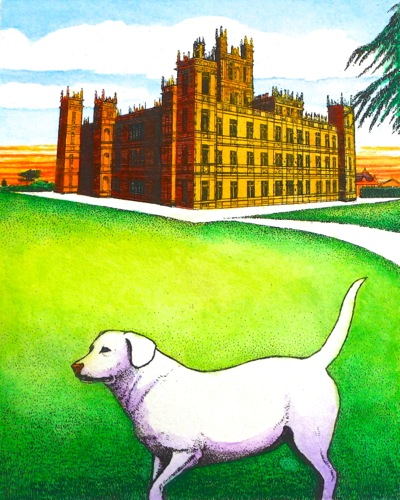 """""""Downton Abbey"""",Hand colored etching,5"""" x 4"""""""